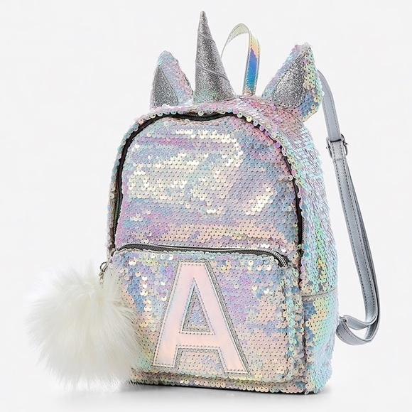 "NWT JUSTICE initial ""A"" Unicorn Mini Backpack"